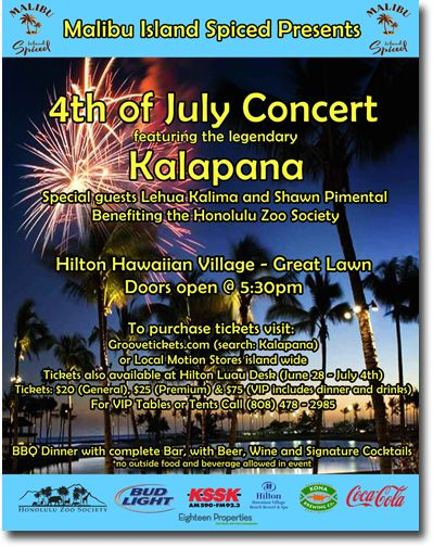 Fourth Of July Benefit Concert Featuring The Legendary Kalapana To