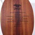 Duke's Creed engraved on the koa paddle